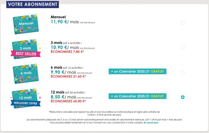 60€ de remise sur l'abonnement 12 mois toucanBox