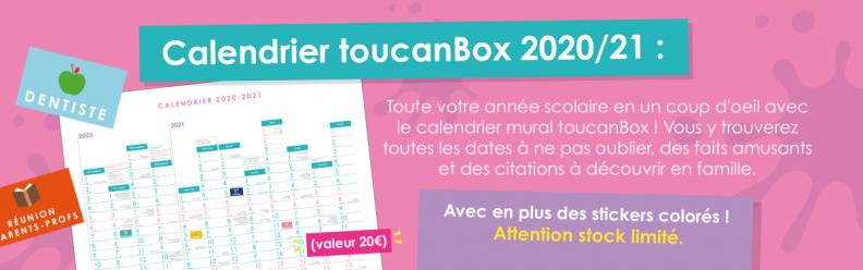 Un calendrier gratuit 2020/2021 toucanBox offert