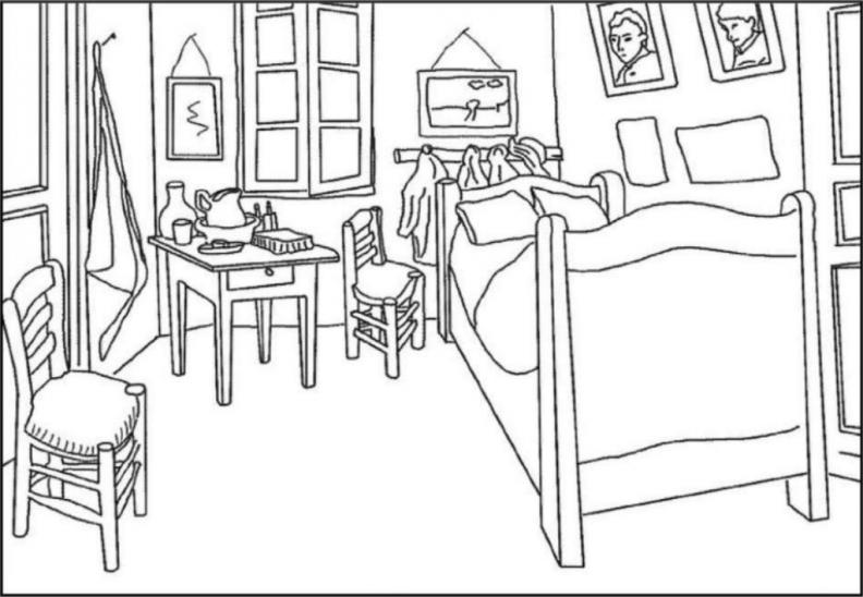 Coloriage de la peinture La chambre à coucher réalisée par Vincent Van Gogh