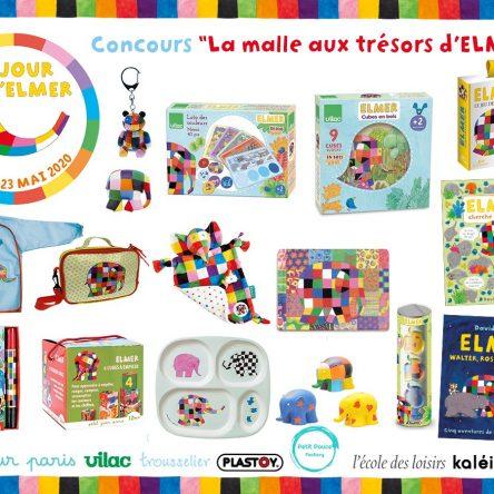 """#Concours Jour d'Elmer : """"La malle aux trésors d'Elmer"""" et ses nombreux lots #JourElmer"""
