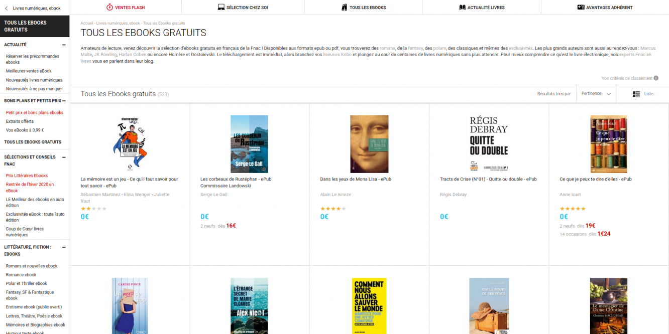 Confinement : la Fnac propose gratuitement 523 Ebooks