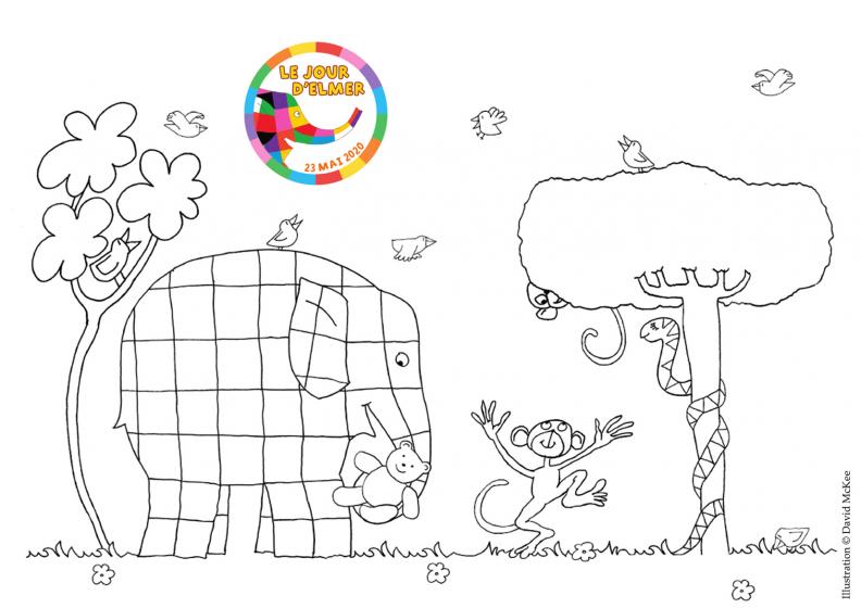 Exemple de dessin du kit d'activités Le jour d'Elmer