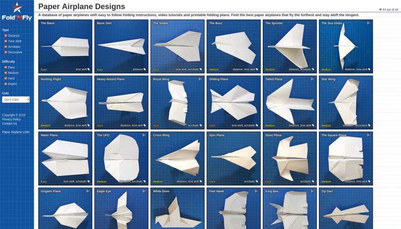 Fold 'N Fly, un site web d'avions en papier avec des instructions de pliage faciles à suivre