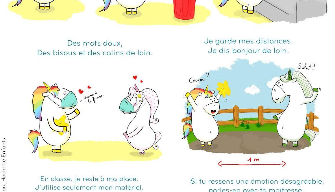 Gestes barrières par Gaston la licorne : les gestes barrières avec Gaston