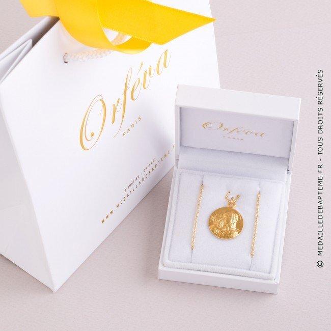 Exemple de médaille Vierge à l'enfant de Botticelli 18mm (or jaune)