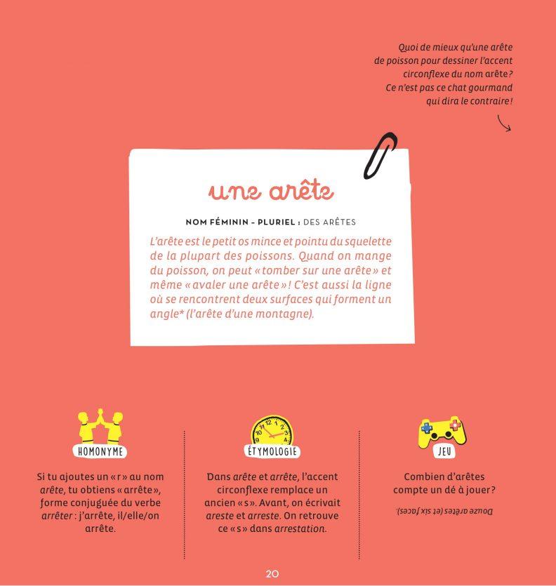 Un petit dessin vaut mieux qu'une grande leçon de Sandrine Campese : l'explication de l'orthographe du mot Arête