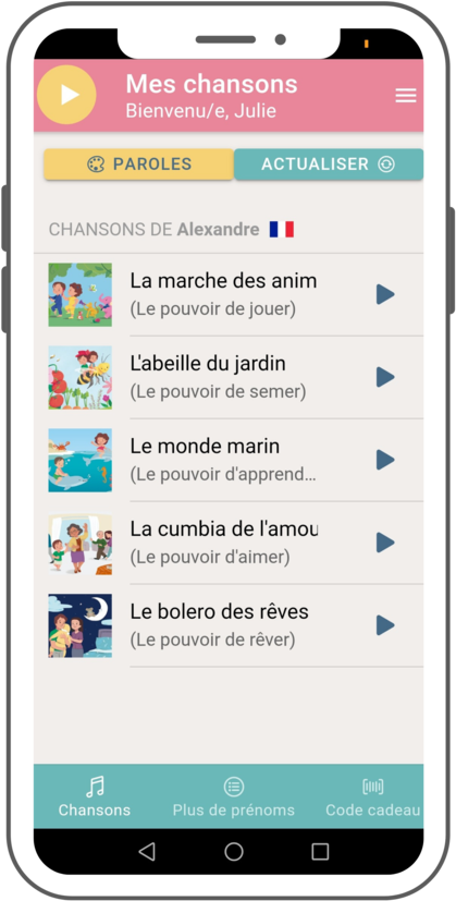 Application gratuite Poronponpon Music disponible sur Android et Apple IOs