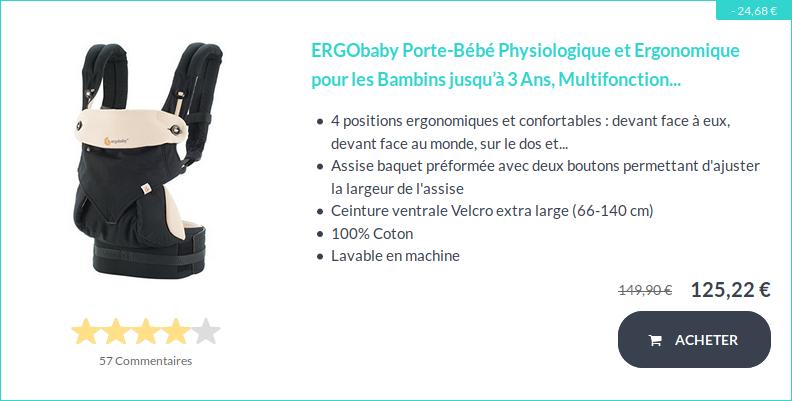 Soldes sur le porte-bébé Ergobaby BC360BLKCAM1NL